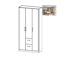 Rivera Hinged 3 Door Wardrobe w/ Drawers