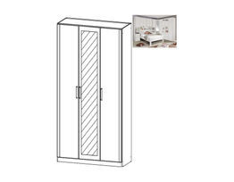 Rivera Hinged Mirrored 3 Door Wardrobe
