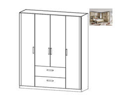 Rivera Hinged 4 Door Wardrobe w/ Drawers
