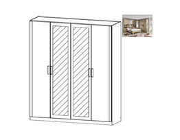 Rivera Hinged Mirrored 4 Door Wardrobe